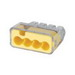Ideal 30-1034J In-Sure™ Push-In Wire Connector; 20-12 AWG, 4 Conductors, 600 Volt Maximum Building Wire, 4 Ports, Polycarbonate, Yellow, 200/Jar