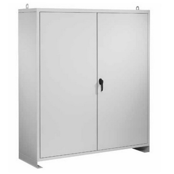 Hoffman Pentair A48N5218FSLP Solid Two Door Large Equipment Protection Enclosure 14 Gauge Steel  RAL 7035 Light Gray  Free-Stand Mount  Padlocking Cover