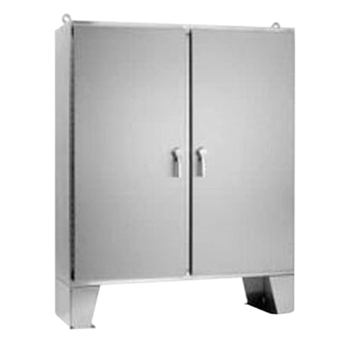 Hoffman Pentair A74H7212SSLP3PT Solid Two Door 3-Point Latch Style Equipment Protection Enclosure 12 Gauge 304 Stainless Steel  Free-Stand/Floor Mount  Hinged/Padlocking Cover