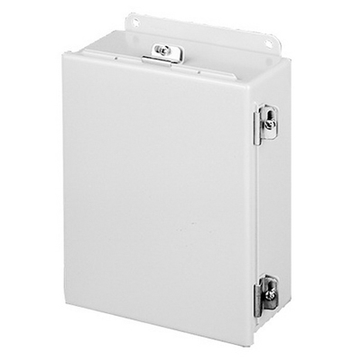 Hoffman A10086CHNF Enclosure; 6 Inch Depth, 14 Gauge Steel, ANSI 61 Gray, Gasketed/Hinged Cover