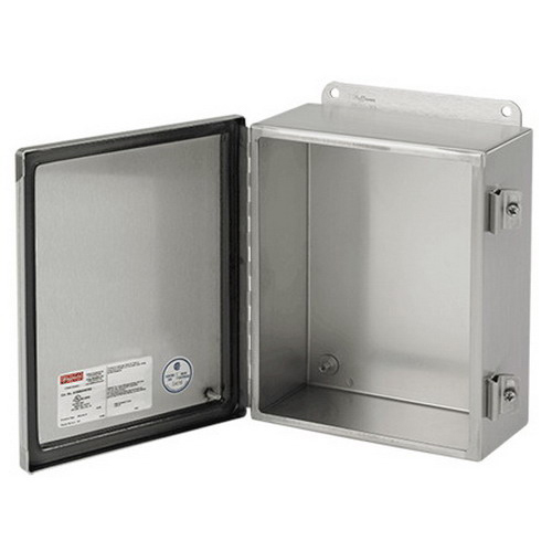 Hoffman A1412CHNFSS Junction Box; 16 and 14 Gauge 304 or 316L Stainless Steel Hinged Cover