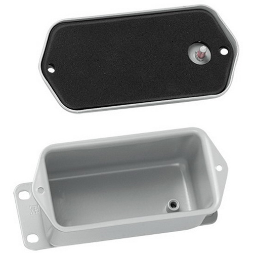 Hoffman A404DSC Junction Box Enclosure; 2.620 Inch Depth, Steel, ANSI 61 Gray, Surface Mount, Flat/Screw-On Cover