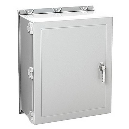 Hoffman Pentair A30H2408GQRLP Solid Single Door Quick-Release Latch Style Equipment Protection Enclosure; 8 Inch Depth, Fiberglass, Gray, Wall Mount, Hinged/Padlocking Cover