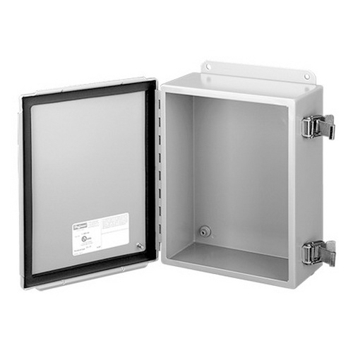 Hoffman A1412CHQR Enclosure; 6 Inch Depth, 14 Gauge Steel, ANSI 61 Gray, Gasketed/Hinged Cover