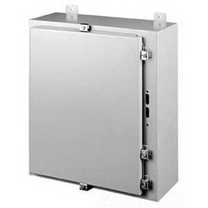 Hoffman Pentair A24HS2508LP Solid Single Door Disconnect Enclosure; 14 Gauge Steel, ANSI 61 Gray, Wall Mount, Hinged Cover