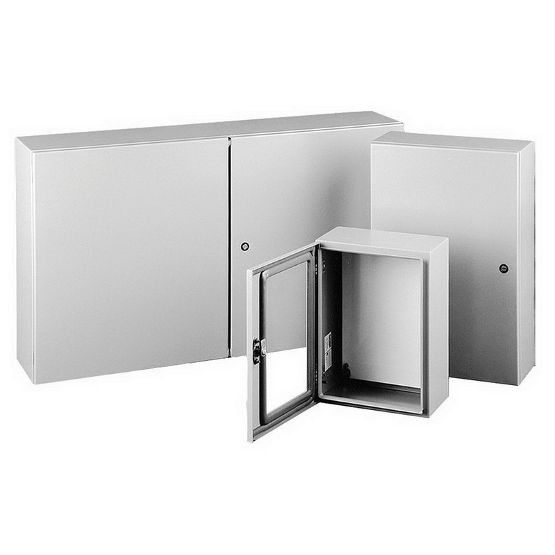 Hoffman Pentair CSD36368 Concept™ Solid Single Door Quarter-Turn Latch Style Electrical Enclosure; 14 Gauge Steel, ANSI 61 Gray, Wall Mount, Hinged Cover