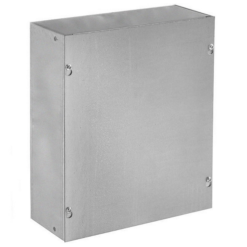 Hoffman ASE4X4X4NK Pull Box; 4 Inch Depth, Steel, ANSI 61 Gray, Wall Mount, Flat/Screw-On Cover