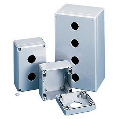 Hoffman Q2PBPCD Qline™ D 2-Hole Pushbutton Enclosure; 3.110 Inch Depth, Polycarbonate, RAL 7035 Light Gray