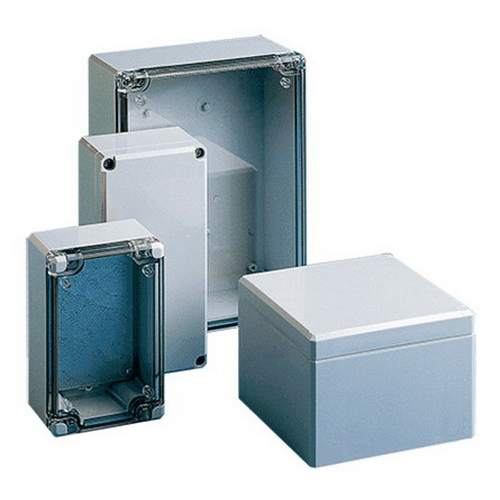 Hoffman Q12129PCD Qline™ D Junction Box; 3.390 Inch Depth, Polycarbonate, RAL 7035 Light Gray, Screw-On Cover