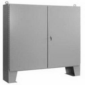 Hoffman Pentair A604812LP Two-Door Enclosure With Floor Stand; 12 Gauge Steel, ANSI 61 Gray Outside, White Inside, Floor Mount