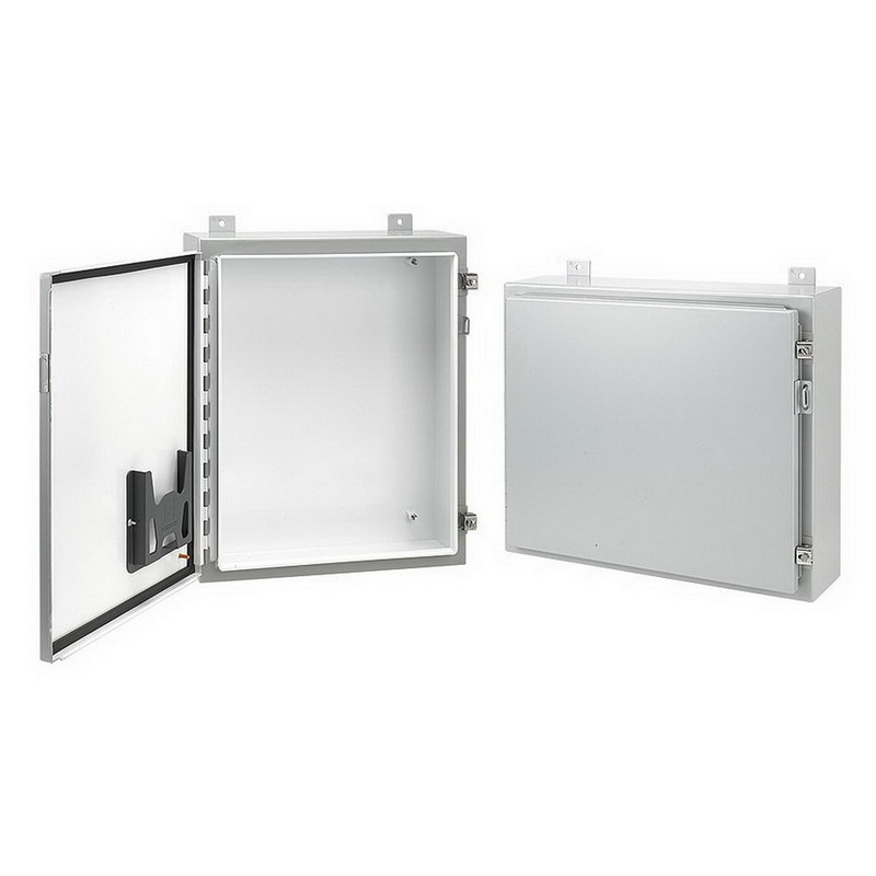 Hoffman Pentair A362408LP Single Door Enclosure; 14 Gauge Steel, ANSI 61 Gray Outside, White Inside, Wall Mount, Padlocking Cover