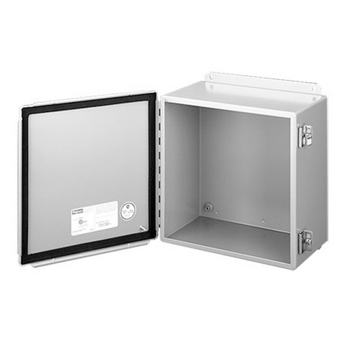 Hoffman A1210CH Enclosure; 5 Inch Depth, 14 Gauge Steel, ANSI 61 Gray, Gasketed/Hinged Cover