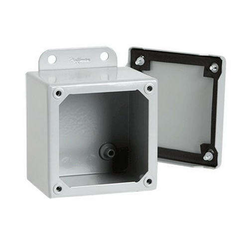 Hoffman A4044SC Enclosure; 14 Gauge Steel, ANSI 61 Gray, External Feet Mount, Screwed Cover