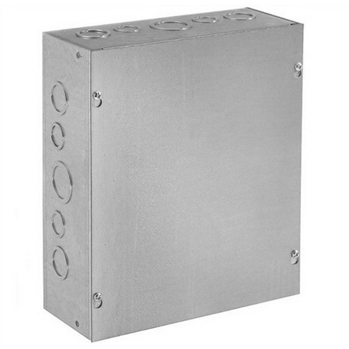 Hoffman ASE12X12X4 Pull Box; 4 Inch Depth, 16 Gauge Steel, ANSI 61 Gray, Wall Mount, Flat/Screw-On Cover