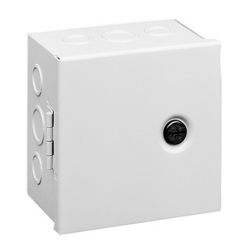 Hoffman AHE12X10X4 Pull Box; 4 Inch Depth, 16 or 14 Gauge Steel, ANSI 61 Gray, Surface Mount, Hinged Cover