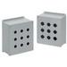Hoffman E3PBX Extra-Deep Pushbutton Enclosure; 14 Gauge Steel, ANSI 61 Gray, External Feet Mount