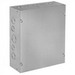 Hoffman ASG4X4X4 Pull Box; 4 Inch Depth, Galvanized Steel, ANSI 61 Gray, Wall Mount, Flat/Screw-On Cover