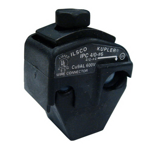 Ilsco IPC-4/0-6 Multi-Cable Piercing Connector; 4/0-4 AWG, 300 Volt, Black