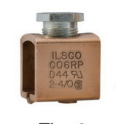 Ilsco CO6RP Mechanical Box Type Lug; 2-4/0 AWG, Electrolytic Seamless Copper Tubing