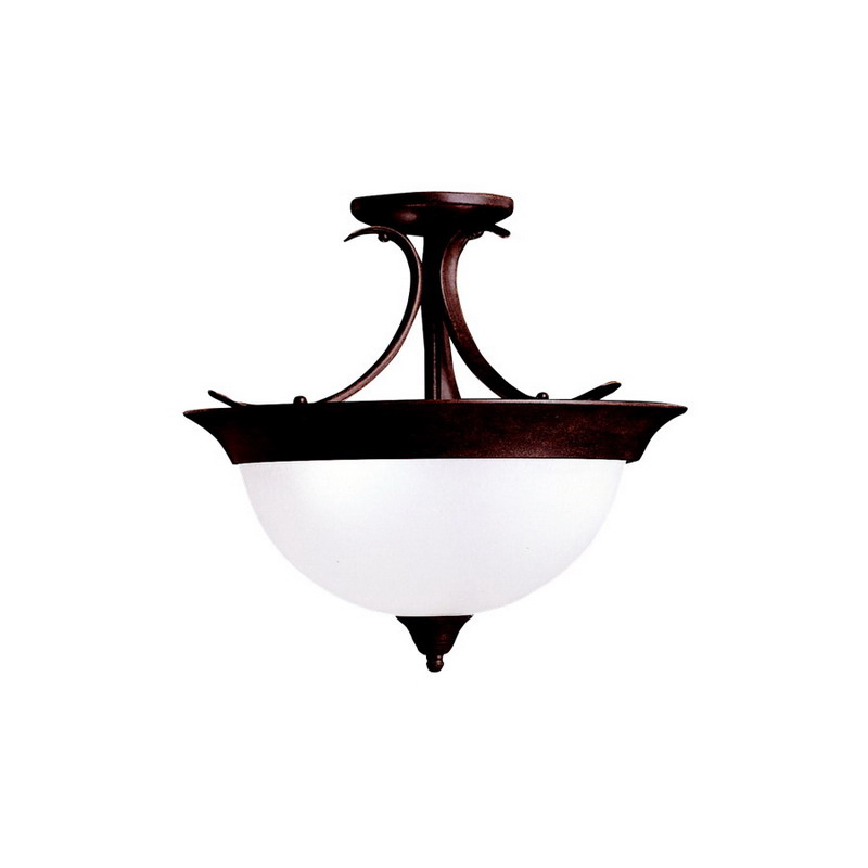 Kichler 3623TZ Dover Collection 3-Light Semi-Flush Mount Ceiling Light Fixture; 60 Watt, Tannery Bronze, Lamp Not Included