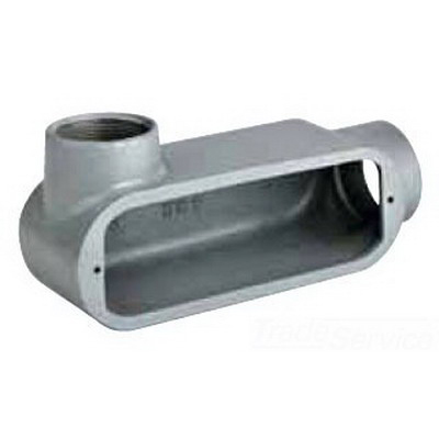 Hubbell Electrical / Killark OLB-2 Type LB Conduit Body; 3/4 Inch, Threaded, Aluminum, Gray
