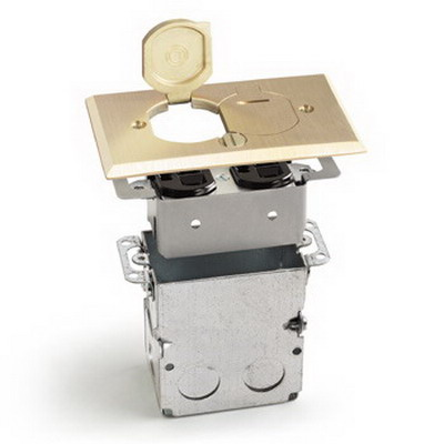 Lew SWB-2-LR Duplex Receptacle/Knockouts Rectangular Recessed Flip Lid Floor Plate Assembly With Box Brass 18 Cubic-Inch Brass