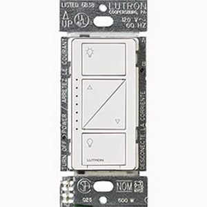 Lutron PD-6WCL-WH Caseta™ C.L™ Wireless In-Wall Dimmer; 120 Volt AC, White Color Gloss Finish, Wall Mount