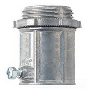 Midwest 1453DC Straight Insulated EMT Set-Screw Connector 1-1/4 Inch  Die-Cast Zinc  Natural