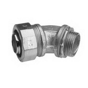 Midwest LT30045 Liquidator™ Non-Insulated 45 Degree Liquidtight Conduit Connector; 3 Inch, Malleable Iron, Electro-Plated Zinc