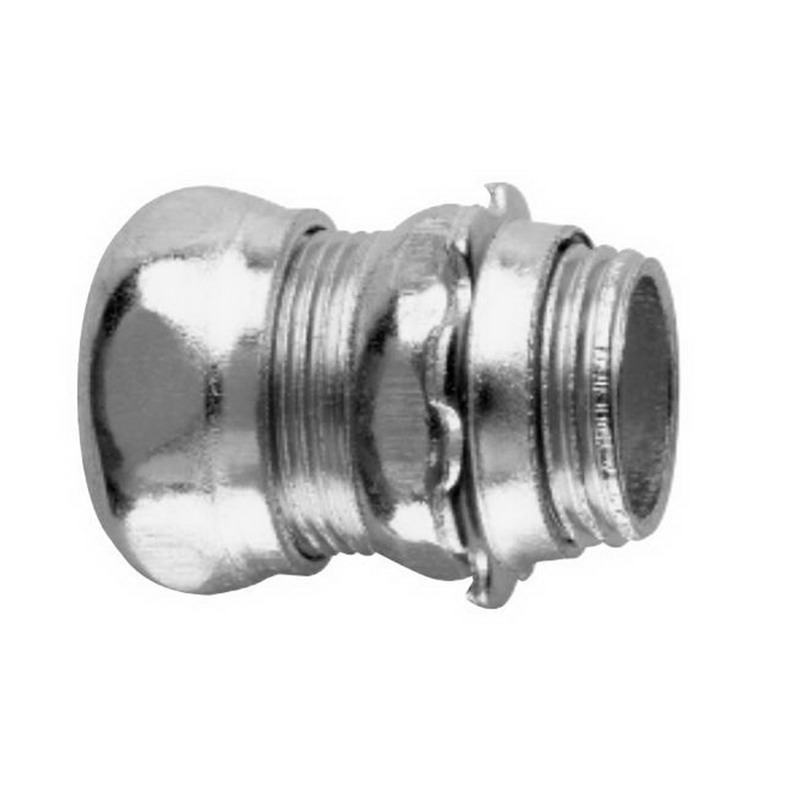 Midwest 659 Straight Non-Insulated EMT Compression Connector; 4 Inch, Steel, Zinc-Plated