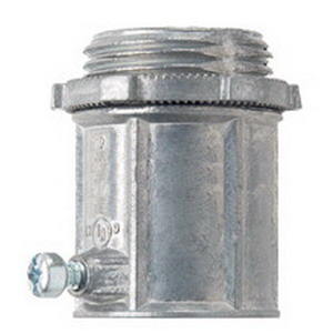 Midwest 450DC Straight Non-Insulated EMT Set-Screw Connector; 1/2 Inch, Die-Cast Zinc, Natural