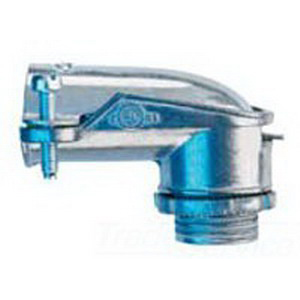 Midwest 738DC Non-Insulated 90 Degree FMC Connector; 3/4 Inch, Die-Cast Zinc, Zinc-Plated, Squeeze x MNPT