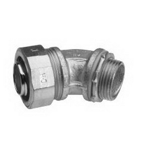 Midwest LT40045 Liquidator™ Non-Insulated 45 Degree Liquidtight Conduit Connector; 4 Inch, Malleable Iron, Electro-Plated Zinc