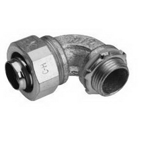 Midwest LT7590G Liquidator™ Non-Insulated 90 Degree Liquidtight Conduit Connector With Aluminum Grounding Lug; 3/4 Inch, Malleable Iron, Electro-Plated Zinc