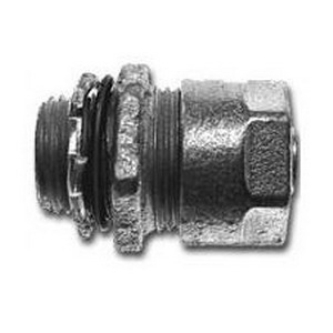 Midwest LT50 Liquidator™ Straight Non-Insulated Liquidtight Conduit Connector; 1/2 Inch, Malleable Iron, Electro-Plated Zinc