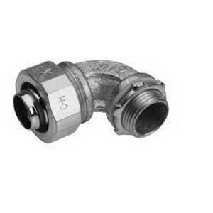 Midwest LT10090 Liquidator™ Non-Insulated 90 Degree Liquidtight Conduit Connector With Insulated Throat; 1 Inch, Malleable Iron, Electro-Plated Zinc
