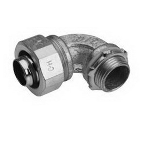 Midwest LT12590 Liquidator™ Non-Insulated 90 Degree Liquidtight Conduit Connector; 1-1/4 Inch, Malleable Iron, Electro-Plated Zinc