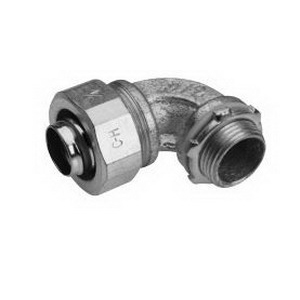 Midwest LT20090 Liquidator™ Non-Insulated 90 Degree Liquidtight Conduit Connector; 2 Inch, Malleable Iron, Electro-Plated Zinc