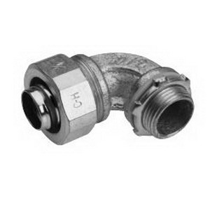 Midwest LT40090 Liquidator™ Non-Insulated 90 Degree Liquidtight Conduit Connector; 4 Inch, Malleable Iron, Electro-Plated Zinc