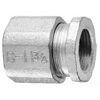 Midwest 194 Three Piece Conduit Coupling; 1-1/2 Inch, Threaded, Malleable Iron
