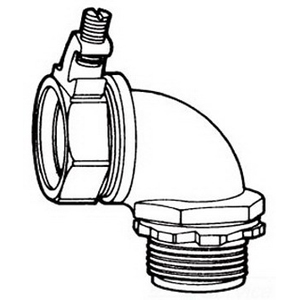 Midwest LTB7590G Liquidator™ Insulated 90 Degree Liquidtight Conduit Connector With Aluminum Grounding Lug ; 3/4 Inch, Malleable Iron, Electro-Plated Zinc