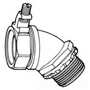 Midwest LTB5045G Liquidator™ Insulated 45 Degree Liquidtight Conduit Connector With Aluminum Grounding Lug ; 1/2 Inch, Malleable Iron, Electro-Plated Zinc