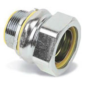 Midwest LTB150 Liquidator™ Straight Insulated Liquidtight Conduit Connector; 1-1/2 Inch, Malleable Iron, Electro-Plated Zinc