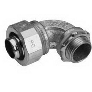 Midwest LTB3890 Liquidator™ Insulated 90 Degree Liquidtight Conduit Connector; 3/8 Inch, Malleable Iron, Electro-Plated Zinc