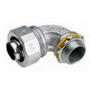 Midwest LTB7590 Liquidator™ Insulated 90 Degree Liquidtight Conduit Connector; 3/4 Inch, Malleable Iron, Electro-Plated Zinc