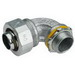 Midwest LTB10090 Liquidator™ Insulated 90 Degree Liquidtight Conduit Connector; 1 Inch, Malleable Iron, Electro-Plated Zinc