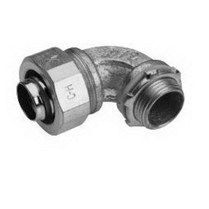 Midwest LTB15090 Liquidator™ Insulated 90 Degree Liquidtight Conduit Connector; 1-1/2 Inch, Malleable Iron, Electro-Plated Zinc