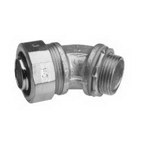 Midwest LTB5045 Liquidator™ Insulated 45 Degree Liquidtight Conduit Connector; 1/2 Inch, Malleable Iron, Electro-Plated Zinc