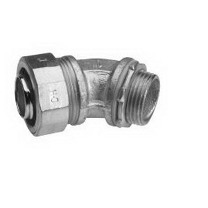 Midwest LTB7545 Liquidator™ Insulated 45 Degree Liquidtight Conduit Connector; 3/4 Inch, Malleable Iron, Electro-Plated Zinc