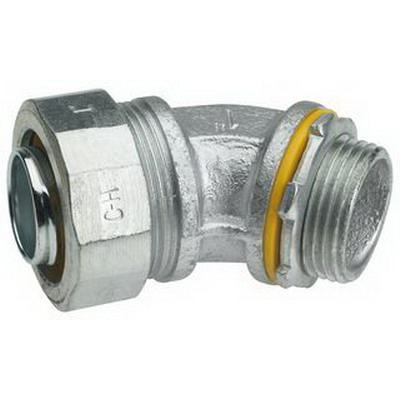 Midwest LTB10045 Liquidator™ Insulated 45 Degree Liquidtight Conduit Connector; 1 Inch, Malleable Iron, Electro-Plated Zinc